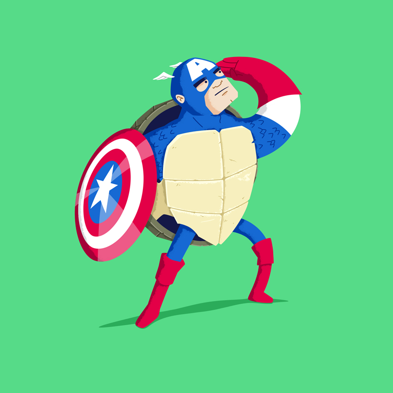 Heroes in a Half Shell Captain America