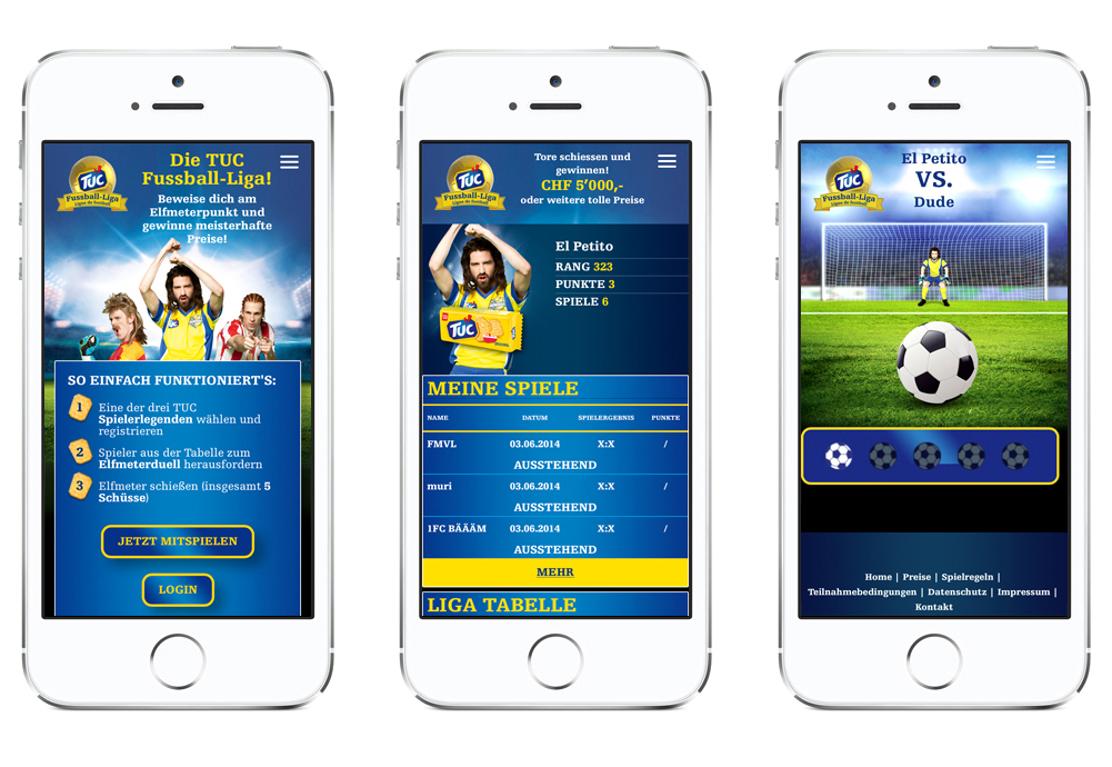TUC Fussball Liga App mobil Screens
